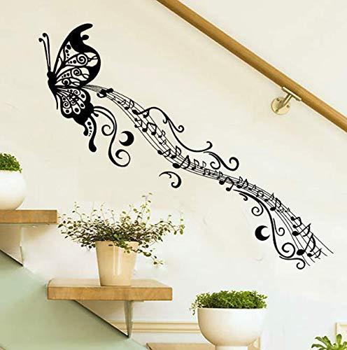 Black Music Butterfly Wanddekoration Stave Note Wandaufkleber Wandtattoos/Kleber Vinyl Home Decoration Für Kinderzimmer Abnehmbar 50 * 170Cm