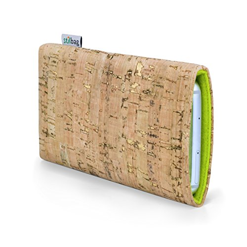stilbag Funda para teléfono móvil Vigo para Huawei Y6 II Compact | Bolsa para Celular Smartphone Made in Germany | Natural con Corcho Dorado, Fieltro de Lana Verde Manzana