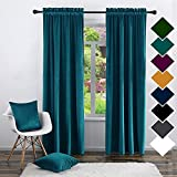 Twin Six Super Soft Blackout Velvet Curtains with 2 Pillow Cases, Thermal Insulated Solid Heavy Rod Pocket Window Drapes for Living Room Nursery Sliding Glass Door (Teal, 52