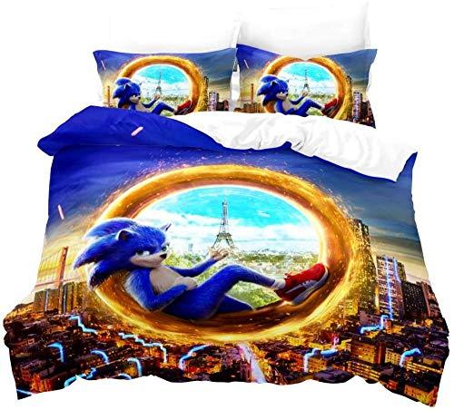 Ropa de Cama Sonic Anime Hedgehog Ropa de Cama para niños con Funda nórdica y Funda de Almohada Impresión Digital Microfibra 3D Poliéster (03 135x200 + 50x75x2)-01_200x200 + 50x75x2