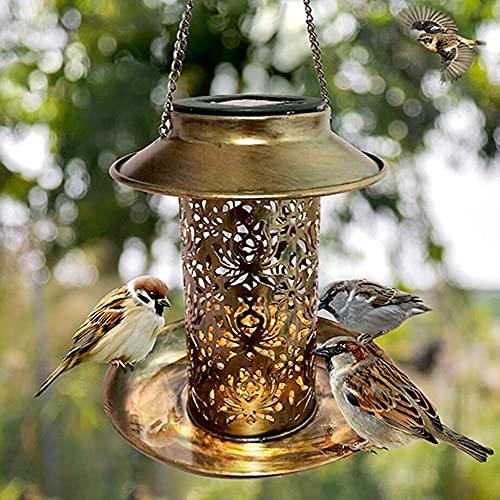 NSWDY Alimentador de Aves Solar, alimentador de Aves Colgantes de Metal con luz Solar Patio Visualización de Luces Alimentador de Aves como Ideas de Regalos para los Amantes de los pájaros