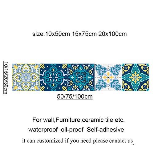 Decoración hogareña Arte mediterránea Cocina Azulejos Decorativos Etiqueta Auto-Adhesivo de Pegatinas de Pared Decoración Árabe España Pared Creativo De Impermeable (Color : 8, Size : 10x50cm)