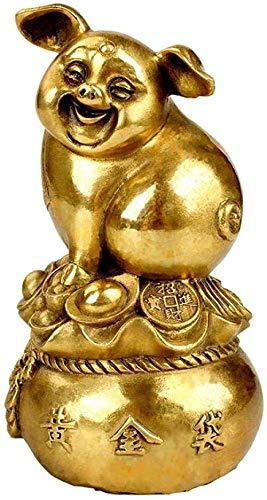 Estatuas para jardín Figuras de colección Adornos Estatuas Esculturas Bolsa de latón Oro Adornos de Cerdo Regalo de Apertura Decoraciones para el hogar