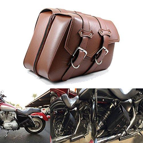 LEAGUE&CO PU Leder Motorradtasche Satteltasche Gepäcktaschen Werkzeugtasche Tasche für Harley Sportster XL883 XL1200 1990-UP (Braun)