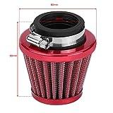 Qiilu Filtro de aire para motocicleta,filtro de aire para motocicleta de 38 mm,limpiador de admisión universal,kit de inducción de repuesto para motocicleta todoterreno,ATV, Quad Dirt Pit Bike (rojo)