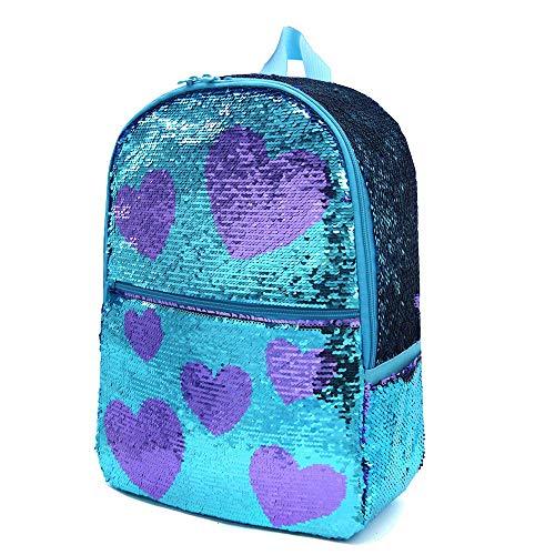 Mermaid Sequin School Bookbag for Girls Kids Bling Backpack Magic Cute Sparkly Book Bag Lightweight Back Pack