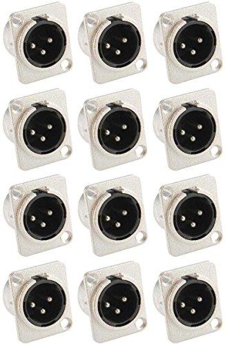 Adam Hall Connectors 7838-12er Set XLR-Einbaubuchse male/männlich 3-pol D-Typ silber Einbaustecker
