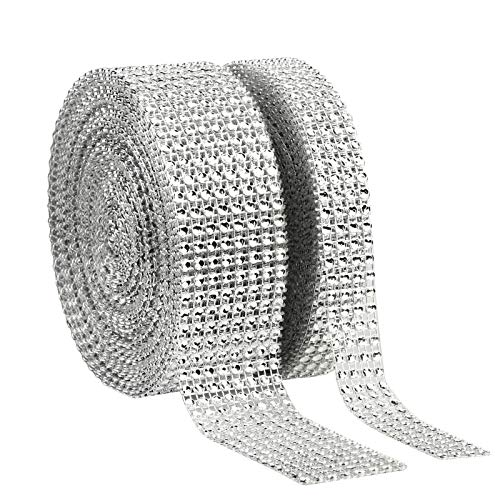 KAKOO 2er 6 Reihen 10 Yard Strassband Glitzband Acrylic Rhinestone Diamant Band Dekoband für Hochzeit Geburtstag Torte Gastgeschenkbox Verzierung Handwerk (silber-8+4Reihen)