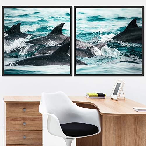 "bestdeal depot Marine Life 2 Panels Framed Canvas Wall Art Prints for Living Room,Bedroom Framed Artwork Decoration Ready to Hang - 24""x24""x2 Panels"
