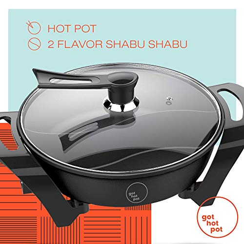 GOT HOT POT Electric Indoor Shabu Shabu Hot Pot with Internal Divider for 2 Flavor Experience Hot Pot Cooker | Non Stick Surface with Heat Control Unit | Indoor and Outdoor use