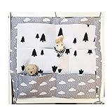 HENGSONG Kinderzimmer Mehrschichtige Beutel Organizer Baby-Bett Krippe Windeln Spielzeug Hängender Beutel Aufbewahrung Tasche 55 * 60CM (Grau)