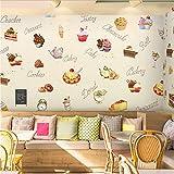 Zybnb 3D mural Pastel de postre 3D tema gastronómico restaurante papel tapiz tienda postre café postre snack bar mural