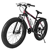 Fat Tire Mens Mountain Bike, 17-Inch/Medium High-Tensile Aluminum Frame, 21-Speed, 26-inch Wheels