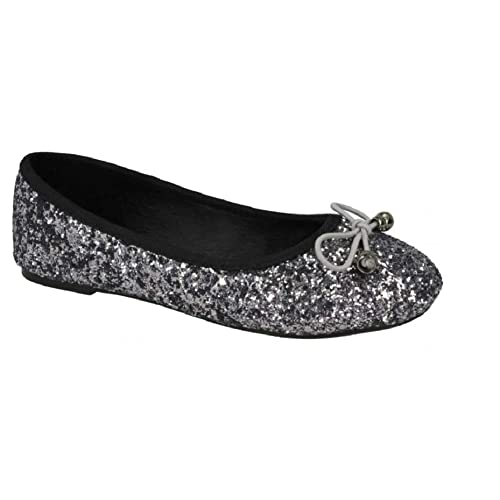 0de40a0341d7 Girls Ballet Flats Glitter Ballerina Shoes Size 10 11 12 13 1 2 Infant -  Junior