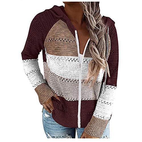 iHENGH Fashion Women Casual Patchwork Langarm Kapuzenpullover Strickjacke Bluse Tops(Wein-1, M)