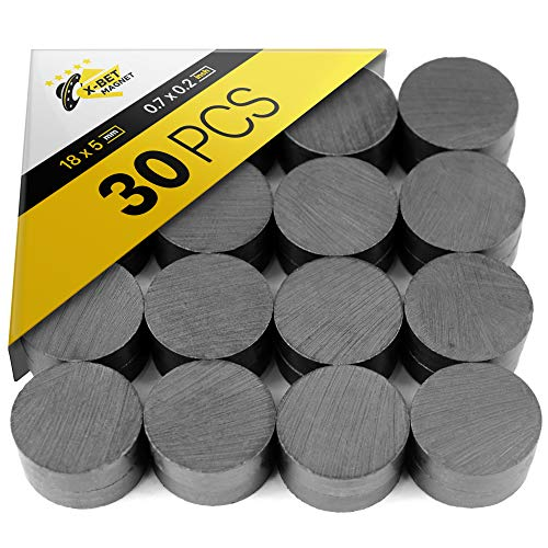 X-bet MAGNET Craft Magnets - 18 mm (.709 inch) Round Disc Ceramic Magnets - Flat Circle Magnets for Crafts, Science & DIY - Ferrite Small Magnets Perfect for Refrigerator, Whiteboard, Fridge - 30 PCs