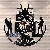 Rock Band Music Group Reloj de pared Rock Band Baterista Heavy Metal Grupo Guitarrista Performance Stage Show Vinilo Record Wall Clock