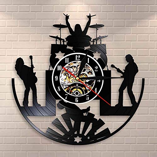 wtnhz LED Colorful vinyl wall clock Rock Band Music Group Wall Clock Rock Band Drummer Heavy Metal Band Guitarist Performing Stage Performance Vinyl Record Wall Clock