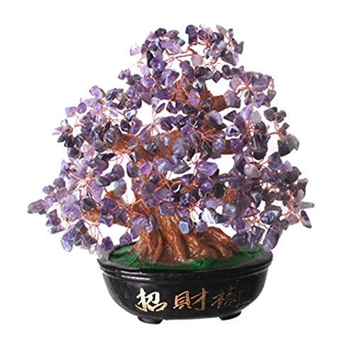 Upupto Lucky Money Tree Crystal Fortune Tree, Ornament Wealth Ornament Home Office Decoration Crafts Crafts,Púrpura