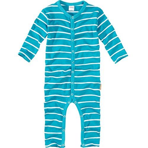 wellyou, Schlafanzug, Pyjama  Jungen und Maedchen, Einteiler langarm, Baby Kinder, tuerkis weiss gestreift, geringelt, Feinripp 100% Baumwolle, Gr 56-62