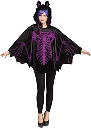 Amazon Com Adult Womens Bat Skeleton Poncho With Hood One Size Up To 14 Halloween Costume Clothing