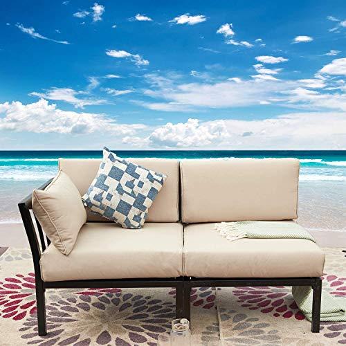 LOKATSE HOME 2 Piece Patio Furniture Corner Sofa Sectional Outdoor Loveseat Armchiar and Armless Sets Metal Steel Frame with Comfy Cushions, Khaki