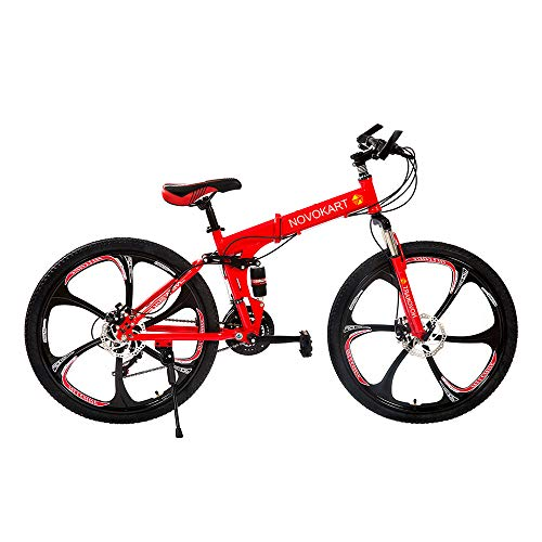 DOMDIL Folding Mountain Bike 26in 21 Speed 6-Spoke Adults Bicycle (Ship from US) Full Suspension Road Bikes with Disc Brakes for Adult Teens MTB Bikes,Red