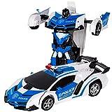 ロボットおもちゃ 変形玩具車 RCカー 2合1 ラジコン 遠隔操作 変形することができる 子供の好きなギフト (青)