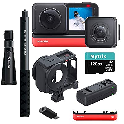 Insta360 ONE R Sport Action Video Camera Bundle: 4K Wide Angle Lens, 5.7K Dual-Lens w/Guards, Bullet Time Accessory, Extra Battery w/Charger, Stabilization Waterproof Touch, Mytrix 128GB U3 SD Card from Mytrix