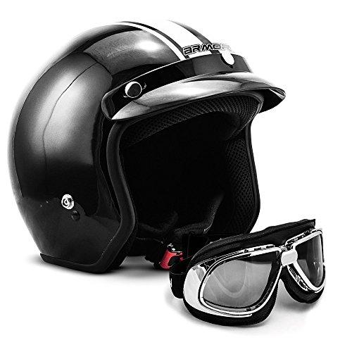 ARMOR Helmets AV-47 Set Jet-Helm Motorrad, Visier Helmet Bleutooth, XXL (63-64cm), Schwarz Weiß