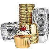 NALCY Pirottini da Forno Alluminio, 100 Pezzi Pirottini di Carta per Muffin, Pirottini da Forno USA e Getta in Alluminio per Muffin e Cupcake, Mini Stampi per Muffin (Oro e Argento)
