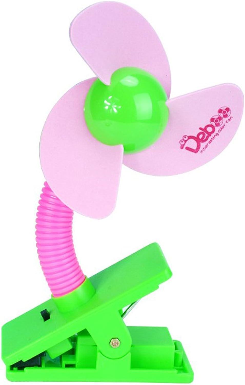 Uhome Clip-on Baby Stroller Fan crib mini fan Stroller Fan Camping Easy To Carry Pink