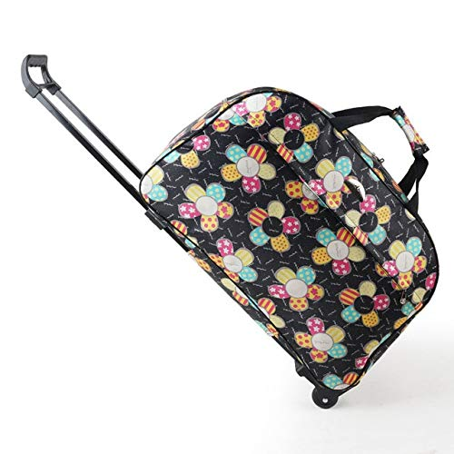 Mdsfe oxford Rolling Luggage Bag Travel Suitcase With Wheels Waterproof Trolley Luggage For Men/Women Carry On Travel Bags - Black flower, M