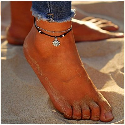 Hwiionne Tobillera para mujer, diseño de bola de plata, cadenas para pies