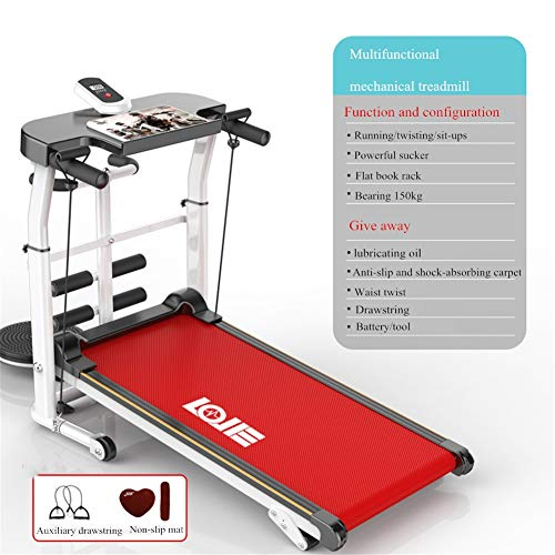 DUDM Meccanico Portatile Tapis Roulant Pieghevole Inclinabile Running Machine for Home Multifunzione Tappeto da Corsa Fitness con Sistema di Smorzamento per Correre Sit-up EtcRed~b-110x115x55cm