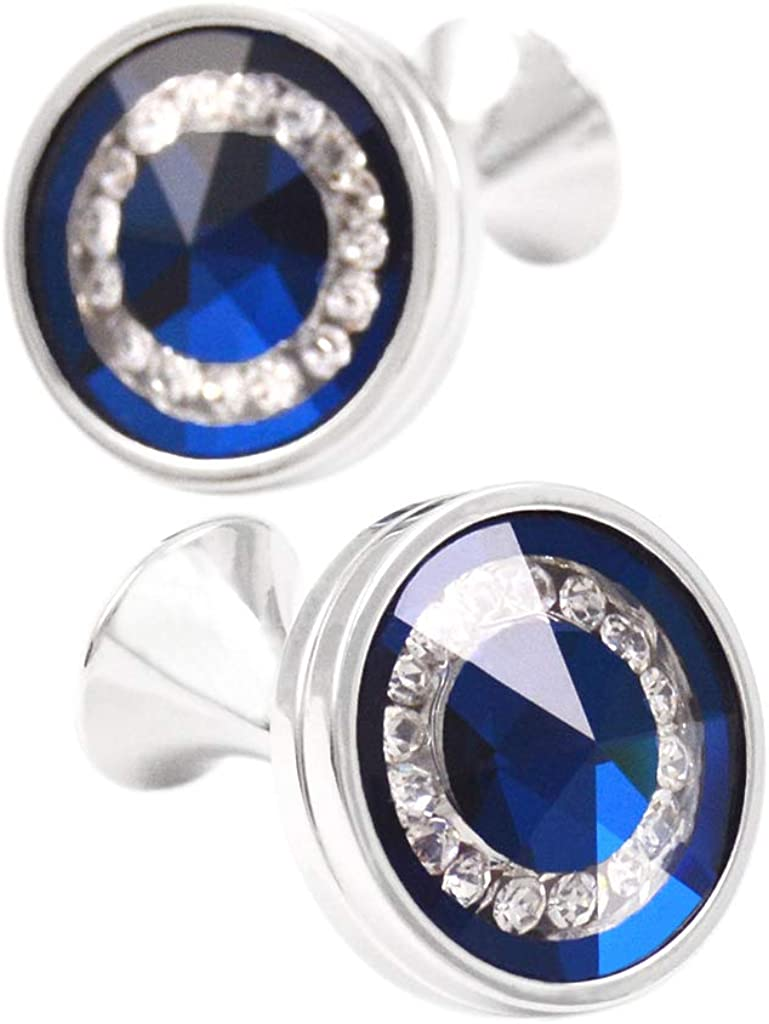 BXLE Ocean Blue Swarovski Crystal Cufflinks, Shiny Delicate Gemstone Shirt Studs in Gift Box, Fashion Collection Jewelry for Father, Husband & Boyfriend