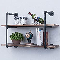 Industrial Iron Pipe Shelf DIY with Wood 36.2in Retro Rustic Storage Book Shelves Wall Mounted Shelving Hung Bracket 2-Shelf Organizer