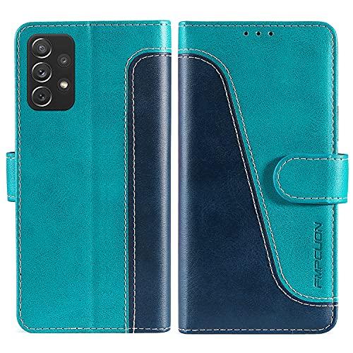 FMPCUON Funda para Samsung Galaxy A32 4G con Tapa,Funda Cartera Magnético Carcasa Samsung Galaxy A32 4G, Libro Caso Móvil para Samsung Galaxy A32 4G Funda Cartera, Azul/Verde