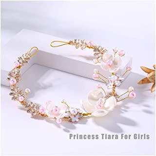 Campsis Cute Princess Flower Headband for Girl and Flower Girls Wedding Tiaras Suitable on Wedding Party Evening and Birthday.