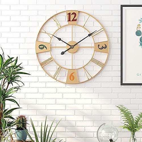 WHSS Reloj de pared negro y dorado de hierro moderno y sencillo de hierro para sala de estar, creativo, reloj de pared de 60 x 60 cm (color dorado)