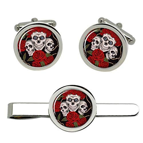 Giftshop UK Rose Totenkopf Manschettenknöpfe und Krawatte Clip Set