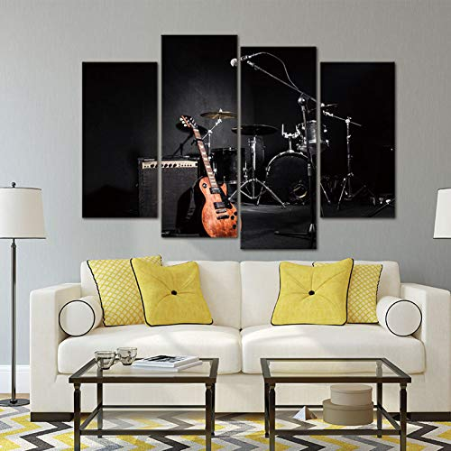 FKHLJ 4 panelen muurkunst schilderij muziek gitaar en rek trommel afbeelding op canvas voor woonkamer decoratie of als geschenk 30cmX60cmX2 30cmX80cmX2
