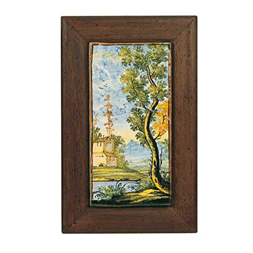 Fliese 10x 20mit Bilderrahmen aus Holz–Keramik Kunstdruck von Castelli handgefertigt und handbemalt