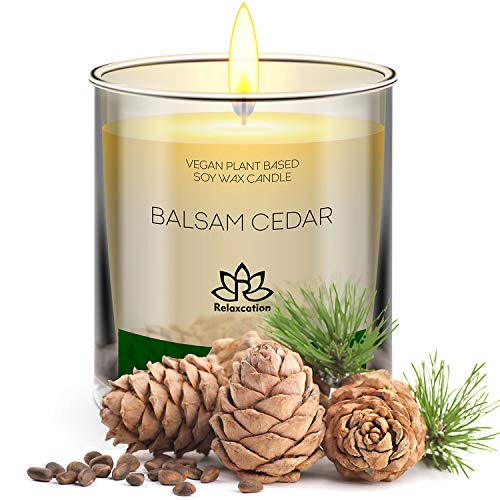 Natural Soy Wax Candle in Glass Jar | Luxury Cedar Balsam Scented Soy Candles | | Fresh Forest Scent | Long Burning 80 Hours Aromatherapy | Giftable Box | 10oz