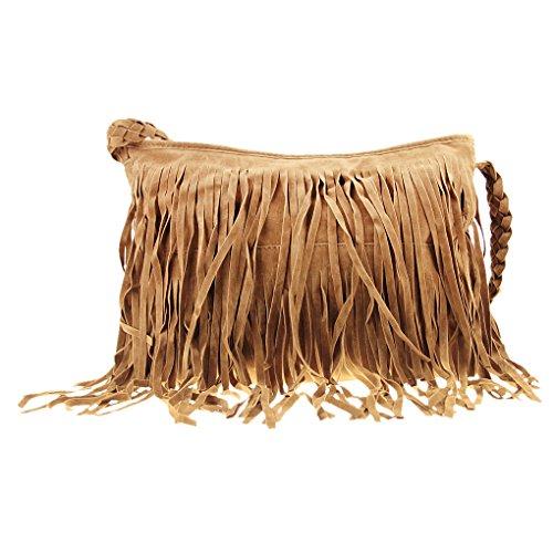 Fashion Fransen Damentasche Umhängetasche Beutel Tasche Kunstwildleder Schultertasche Shopper Tragetasche mit Reißverschluss Messenger Bag