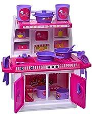 ToyDor 100 % Organic Steel Doll Kitchen Set for Girls Kids Toys for Kids Non Toxic BPA Free Material - Mezz1 (Barbie Kitchen MZZ1)