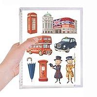 王室の兵士の赤い電話ボックスは、英国ロンドン英国 硬質プラスチックルーズリーフノートノート
