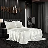 AiMay 6 Piece Bed Sheet Set Deep Pocket Luxury Rich Silk Satin Silky Super Soft Solid Color Hypoallergenic Reversible Stain-Resistant Wrinkle Free (Queen, White)