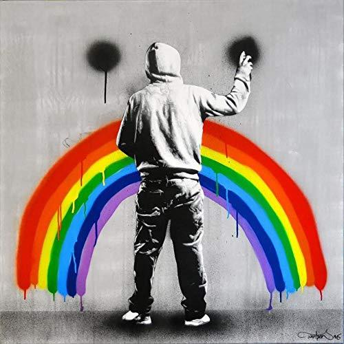 Abstracto Arco Iris Llorando Cara Graffiti Poster Blanco y Negro Banksy Arte de la Pared Impresiones Sala de Estar Inicio Graffiti Lienzo Pintura Decoracion 50x50cmx1 Sin Marco