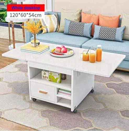 Eettafel LKU Intrekbare mobiele eettafel appartement opvouwbare tafel multifunctionele salontafel met lades, witte desktop